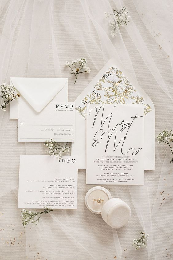 a gorgeous white wedding invitation suite with black letters and botanical lining