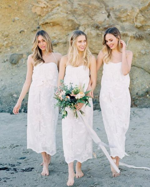 white lace midi loose separates with spaghetti straps for a trendy white bridal party