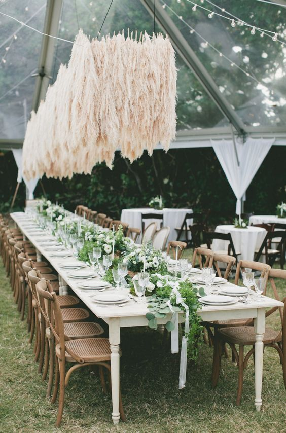 a gorgeous pampas grass wedding installation overheads is a fantastic statement for your wedding