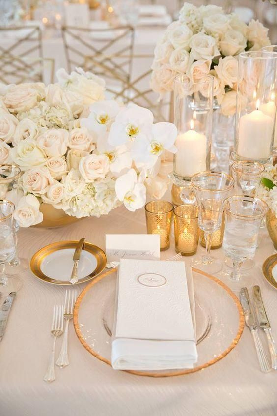 a refined and chic wedding tablescape with roses and orchids, candles and touches of gold