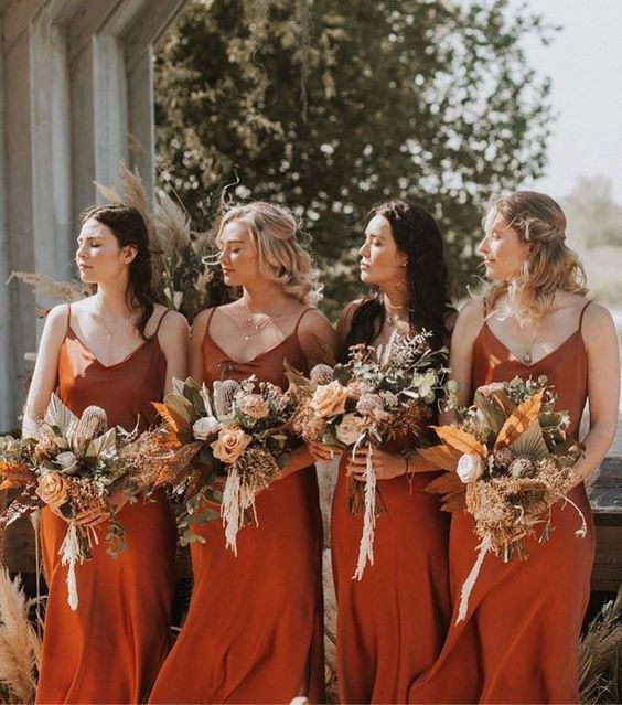 terracotta slip bridesmaid dresses with V-necklines are amazing for fall weddings
