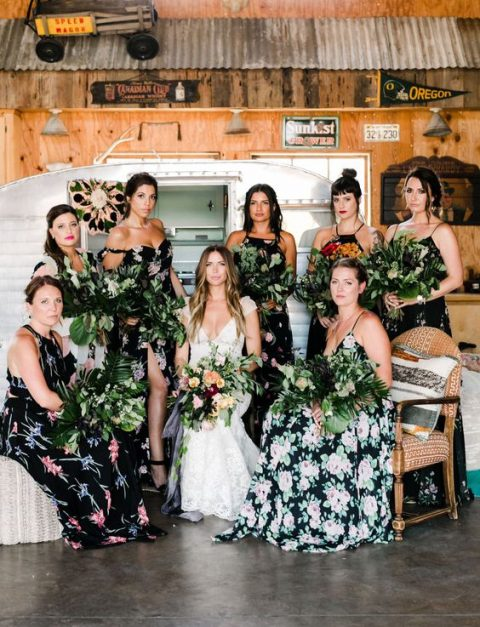 dark floral bridesmaid dresses with spaghetti straps or halter necklines for a boho tropical wedding