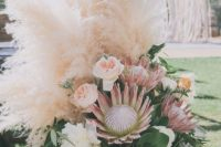 37 lush pampas and floral decor is amazing for the wedding aisle
