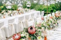 45 bright wedding centerpieces done with greenery and blush blooms plus king proteas