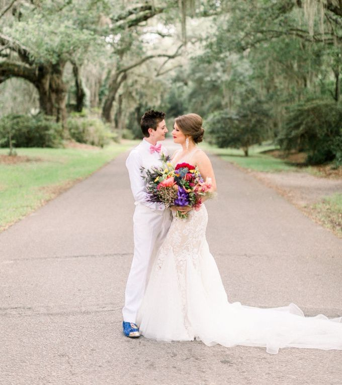 These brides went for a colorful and fun wedding in Charleston that they love for amazing climate and beautiful architecture