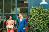01 This couple went for a modern fusion wedding pairign Indian and American traditions