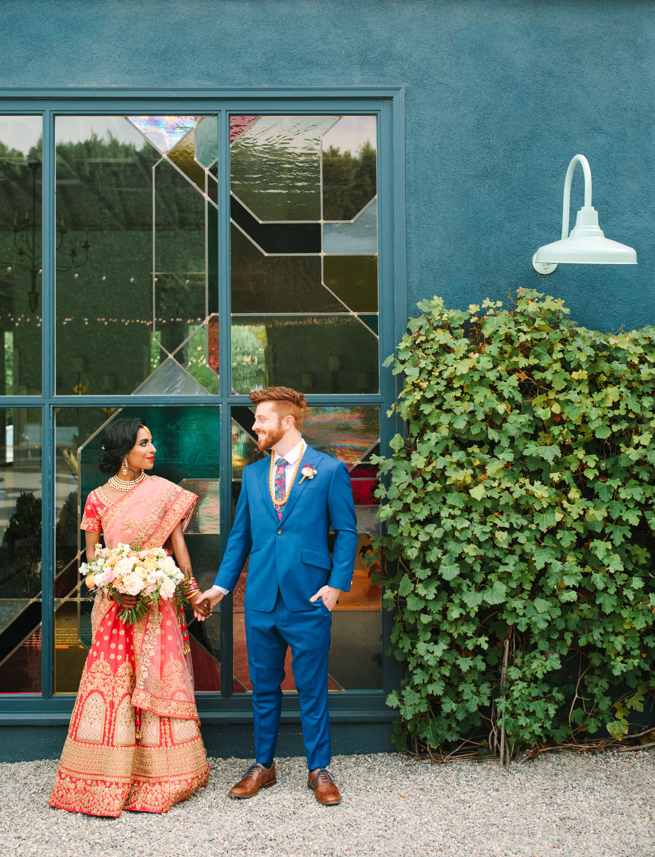 This couple went for a modern fusion wedding pairign Indian and American traditions