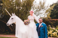 01 This couple went for a super funny and colorful wedding with a unicorn, which was the theme of the celebration