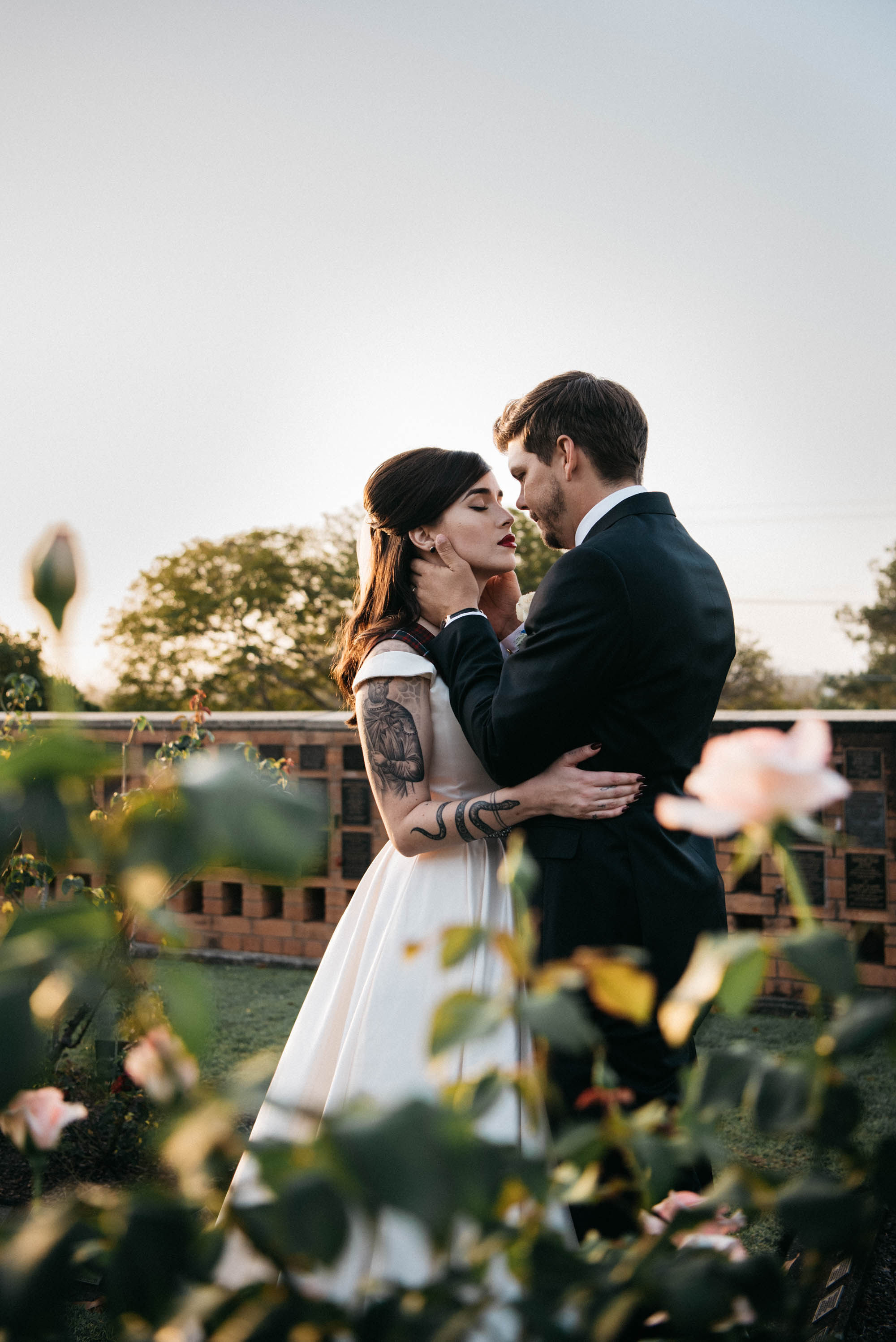 This dark romance wedding took place at a crematorium where the bride works