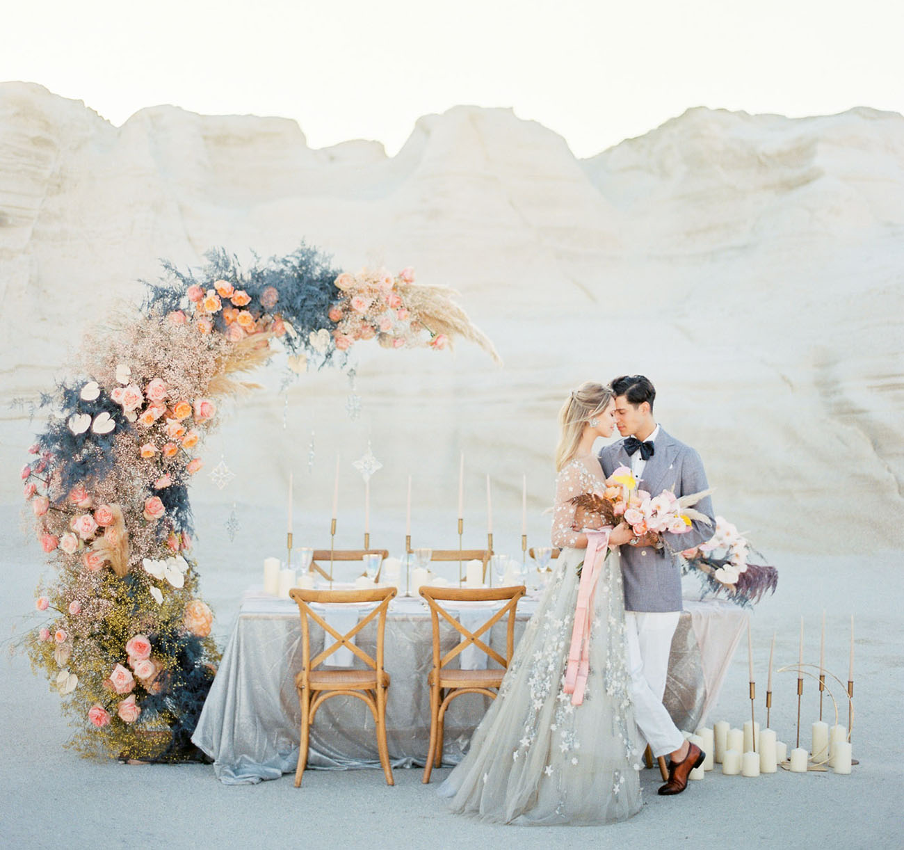 This gorgeous romantic celestial wedding shoot is done in sweet pastel tones and looks out of this world