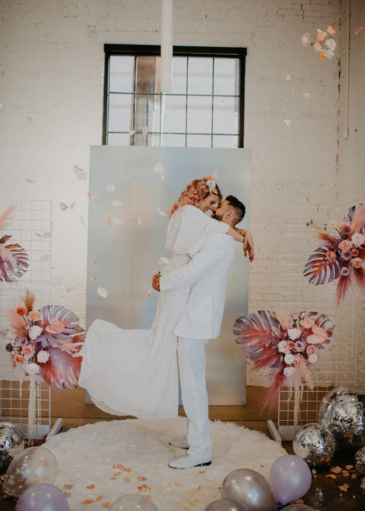 This pink disco wedding shoot was created for Valentine's Day and features all those disco vibes that dancing queens will love