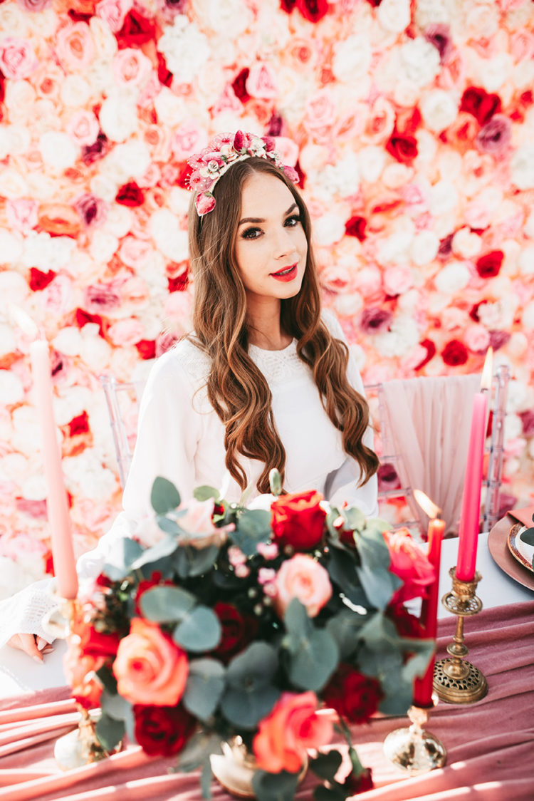 This wedding shoot was inspired by love, Valentine's Day, retro touches and red and pinks