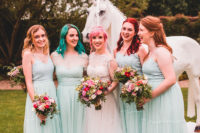 02 The bride was wearing a lace cap sleeve wedding dress with a train, the bridesmaids were rocking mint green separates and colorful bouquets