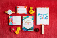 02 The colorful wedding stationery was created by the bride herself as she's an artist