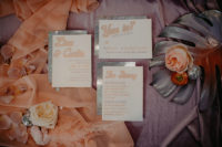 02 The wedding stationery was done in peachy pink, with silver glitter and retro printing