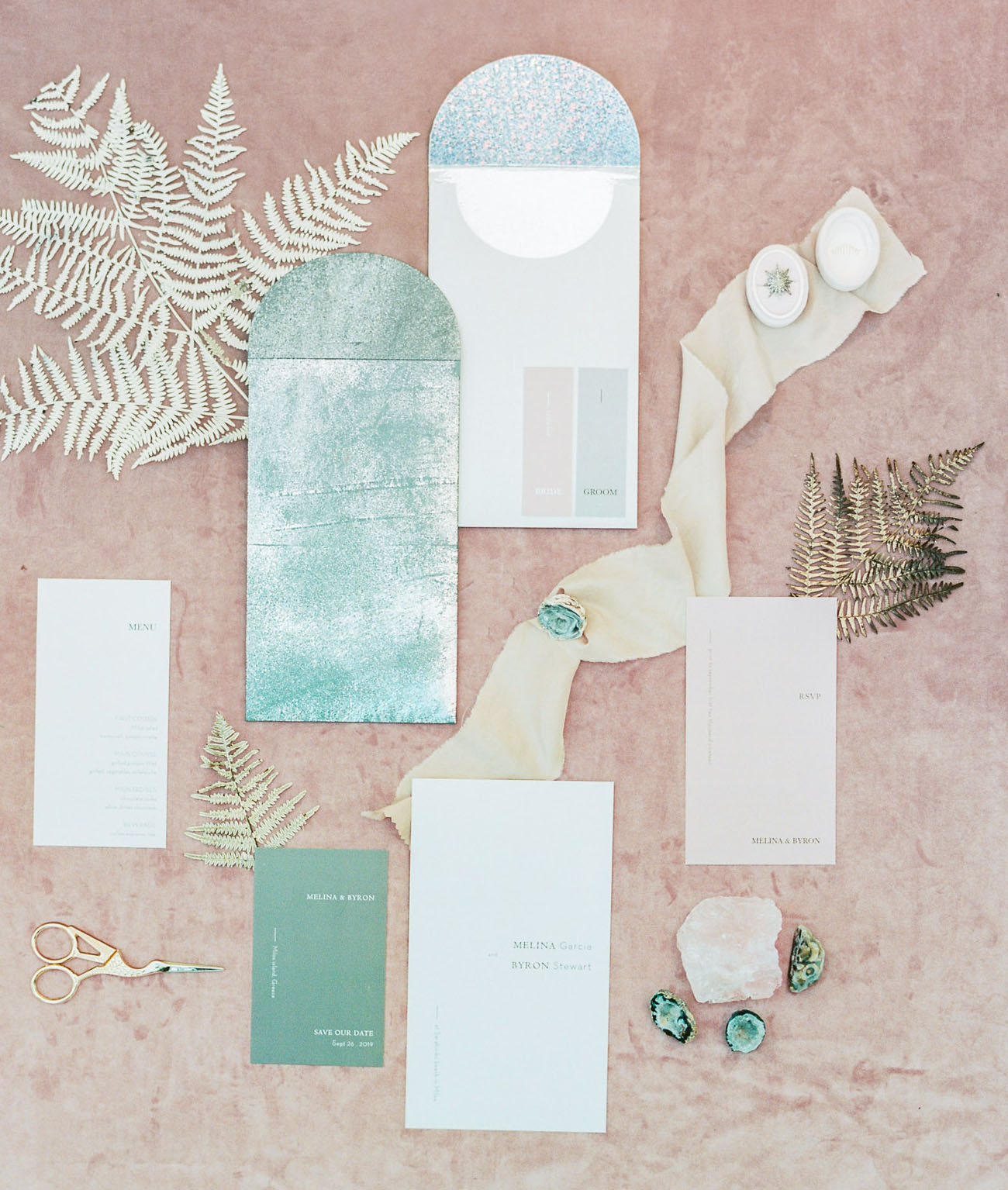 The wedding stationery was inspired by the colors of the Aegean  Sea