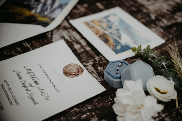 The wedding stationery was inspired by the mountains and the venue looks