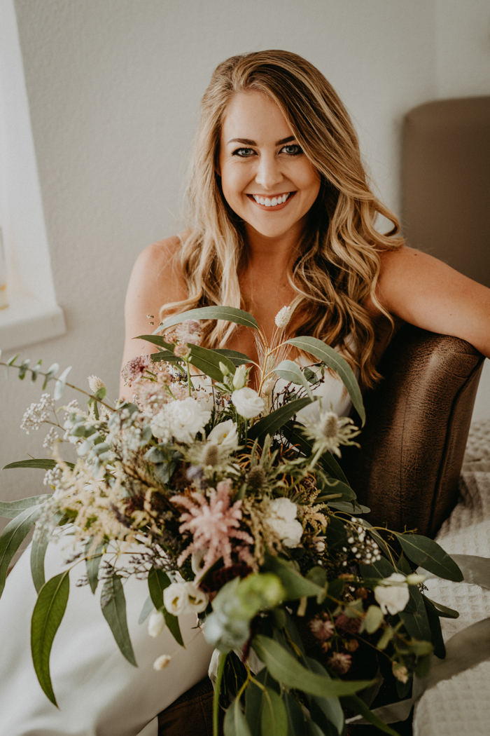 The wedding bouquet was super textural, with pink and white blooms and lots of greenery