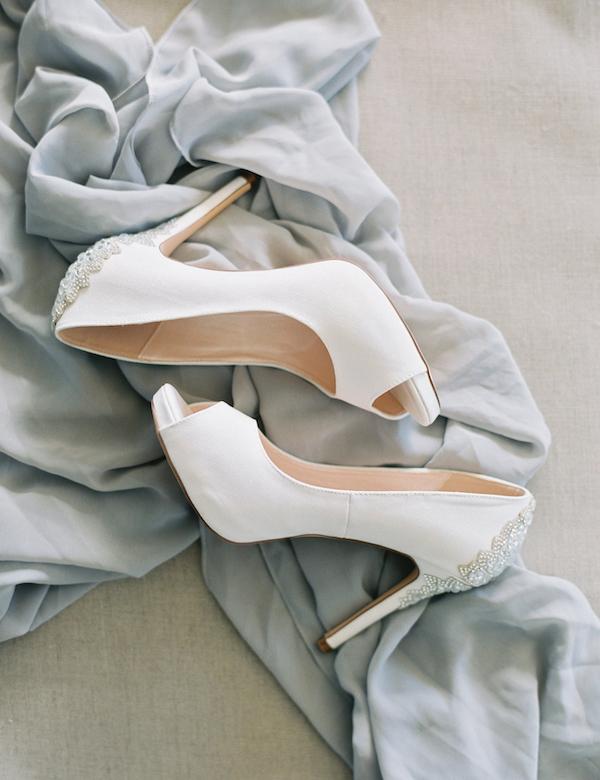 The wedding shoes were elegantly embellished on the backs