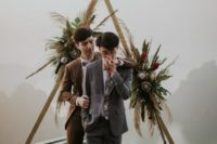 03 chic brown and grey suits, a floral print tie and a bow tie, brown shoes for a gorgeous and stylish look