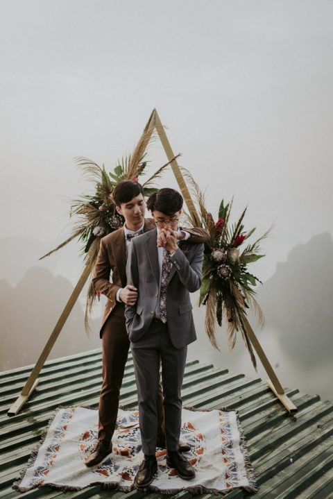 chic brown and grey suits, a floral print tie and a bow tie, brown shoes for a gorgeous and stylish look