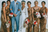 03 matching leopard print bridesmaid dresses on psaghetti straps are chic and cool