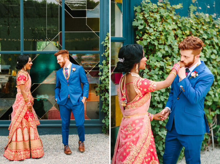 The groom was wearing a bold blue suit, a bright tier and brown shoes