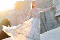 04 The jaw-dropping wedding dress was with a star bodice and a layered skirt also decorated with stars