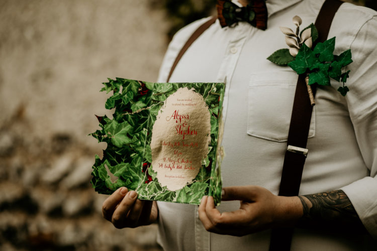 The wedding stationery and decor were inspired by the Snow White fairytale