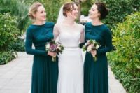 04 chic green maxi bridesmaid dresses with long sleeves, slight draping on the bodice and high necklines