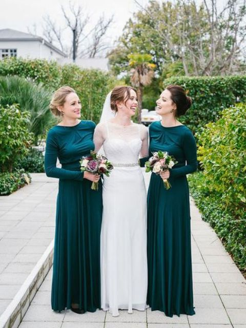 chic green maxi bridesmaid dresses with long sleeves, slight draping on the bodice and high necklines