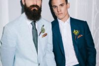 04 chic light blue and teal wedding suits, a printed green tie and matching boutonnieres for a modern wedding