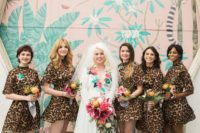 04 short matching turtleneck leopard print bridesmaid dresses are a bold and fun solution that nobody expects