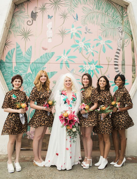 short matching turtleneck leopard print bridesmaid dresses are a bold and fun solution that nobody expects