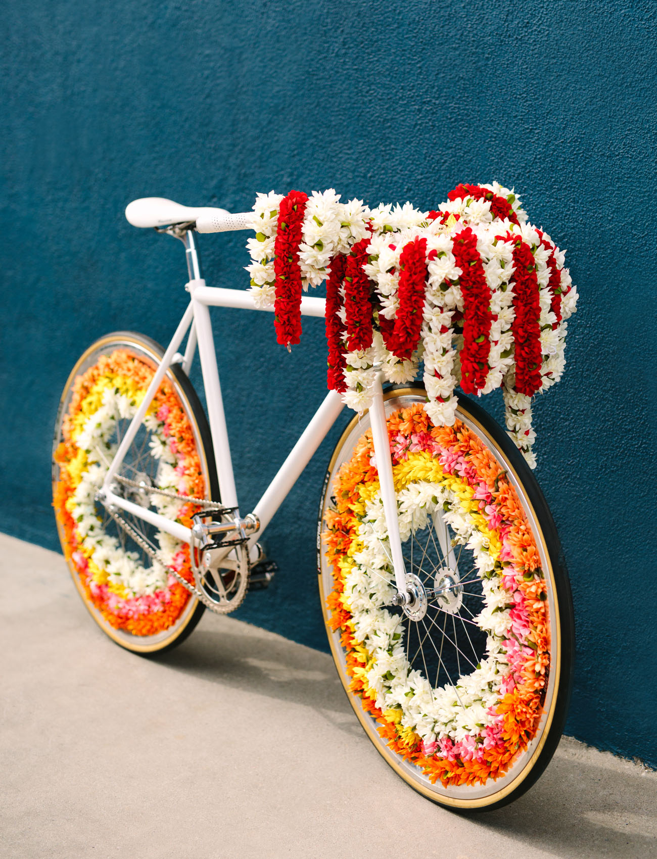 a cool idea to incorporate a bike into a fusion wedding