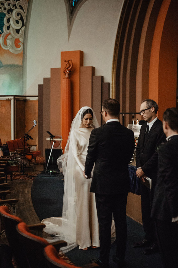 The wedding ceremony took place on the scene of the theater