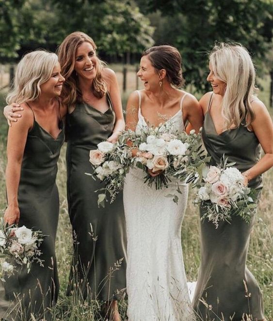 dark green maxi and midi silk slip bridesmaid dresses are a bold and cool idea that never goes out of style