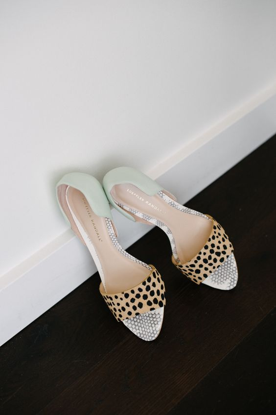 whimsical wedding shoes with leopard print tops and mint green backs for a bright touch