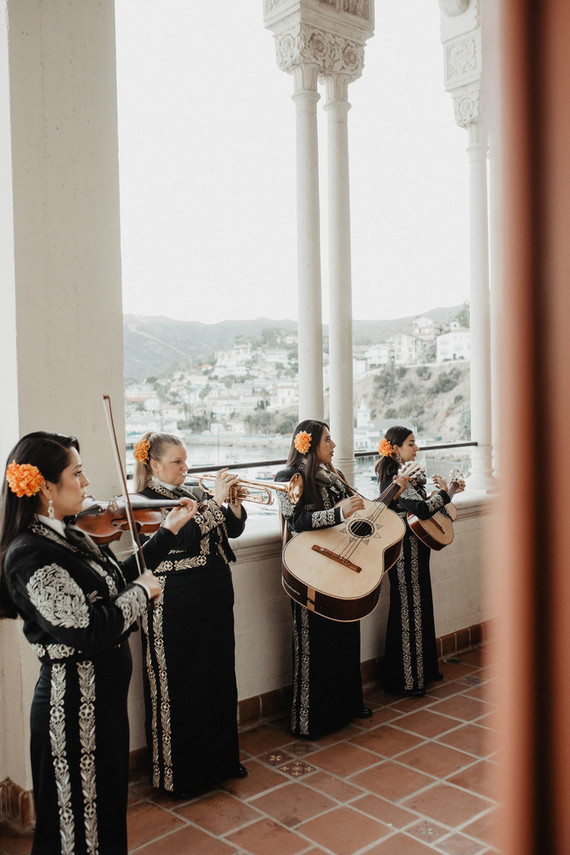 A mariachi band played for the couple and their guests
