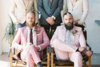 06 chic pink and light pink wedding suits, mismatching ties and brown shoes plus bright boutonnieres for a brigth summer wedding