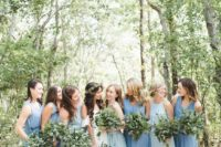 06 minimalist blue and light blue mismatching bridesmaid dresses with no sleeves