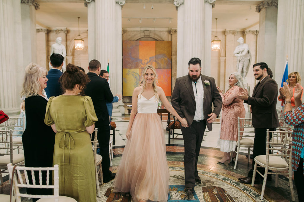 The couple had a ceremony in the city hall as they love its history and architecture