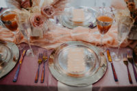 07 The table was styled with silver plates, disco balls, silver cutlery and gold rim glasses plus a mauve tablecloth