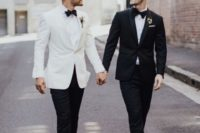 07 contrasting black and white tuxedos with black bow ties and shiny shoes for a refined formal wedding