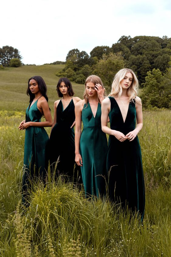 minimalist emerald and dark green maxi bridesmaid dresses with deep V-necklines