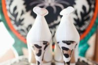 07 white wedding shoes with leopard print heels are a fun and bold idea to go for