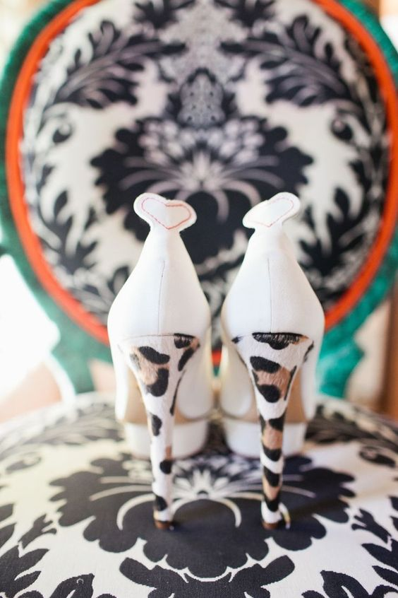 white wedding shoes with leopard print heels are a fun and bold idea to go for