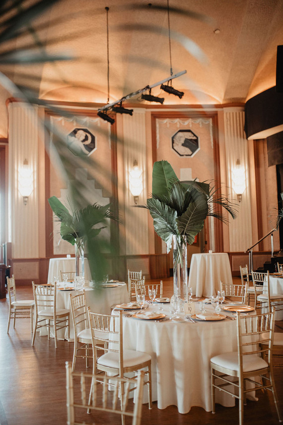 tropical leaves are perfect for reception decor