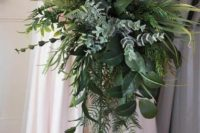 08 a greenery wedding bouquet with plenty of texture is a creative idea to get a stunning bouquet and not to waste money