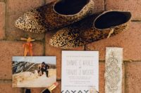 08 catchy wedding stationery with personal pics and leopard print wedding booties for a bold bridal look